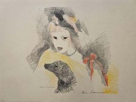 Lithograph Laurencin - Femme avec chien