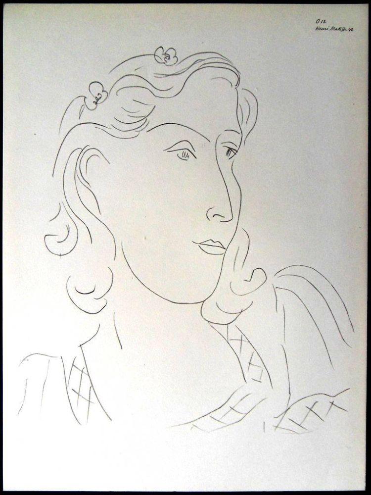 Lithograph Matisse - Femme avec Fleurs dans ses Cheveux
