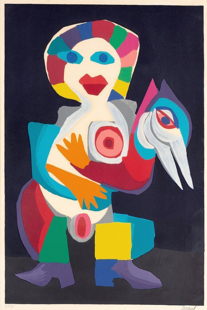 Lithograph Appel - Femme avec Oiseau