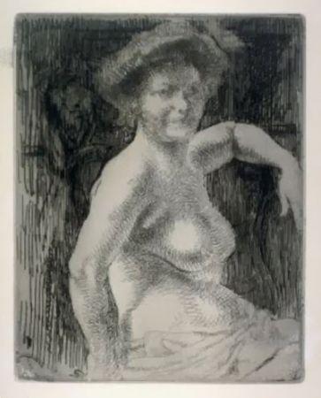 Etching Besnard - Femme blonde à sa toilette