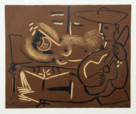Etching Picasso - Femme couchée et guitariste