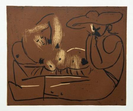 Etching Picasso - Femme couchée et homme au grand chapeau