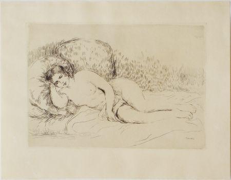 Engraving Renoir - Femme couchée, tournée à gauche