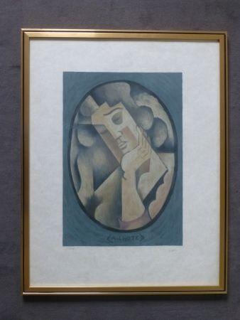 Lithograph Lhote - Femme cubiste pensive