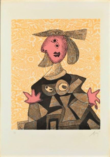 Etching And Aquatint Baj - Femme d'après Picasso