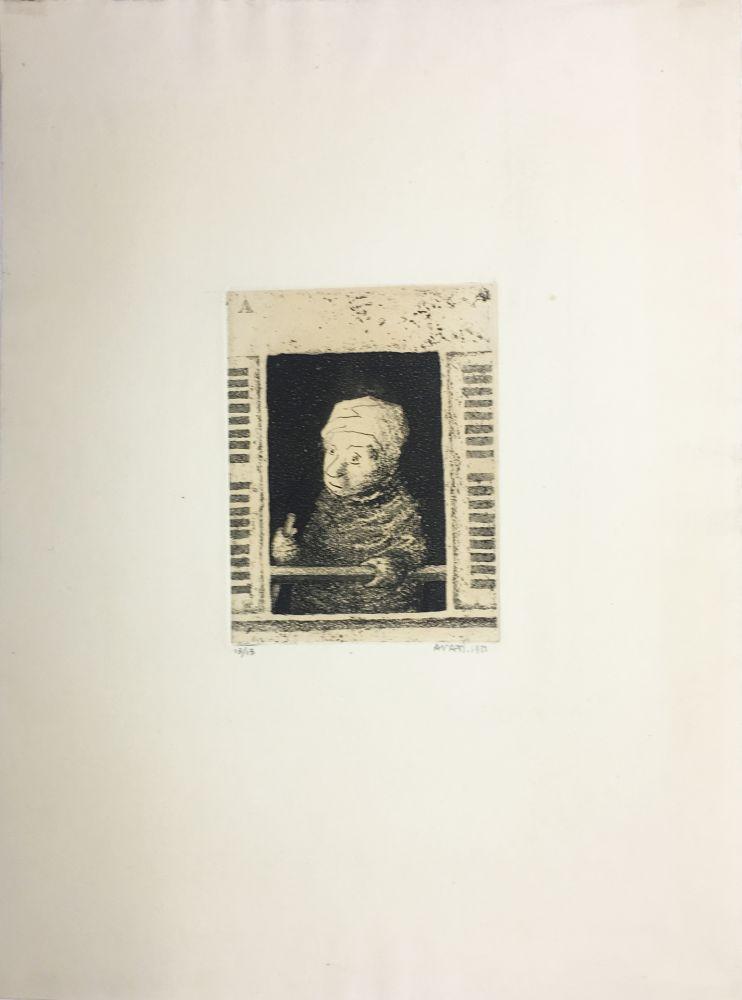 Aquatint Avati - Femme de ménage à la fenêtre (1951)