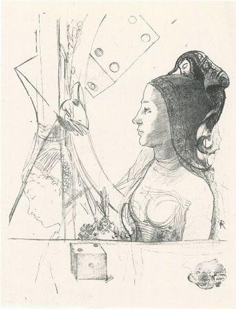 Lithograph Redon - Femme de profil, coiffée d'un hénin