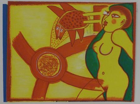 Lithograph Corneille - Femme en jaune