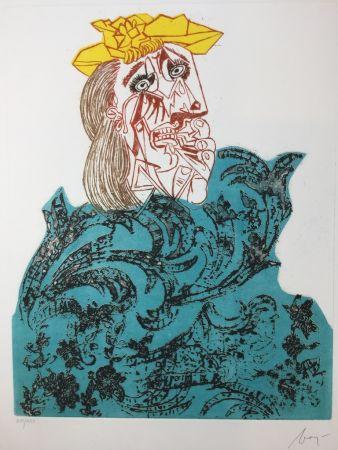 Engraving Baj - Femme en pleurs