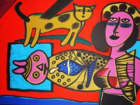 Lithograph Corneille - Femme et chat