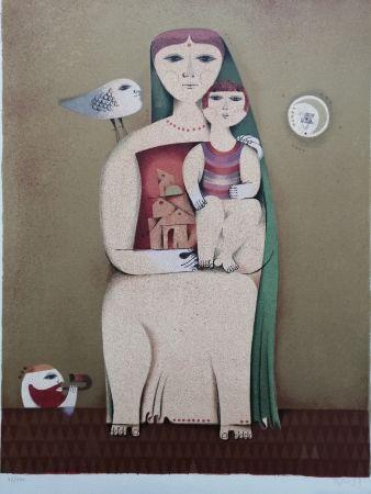 Lithograph Briss - Femme et enfant