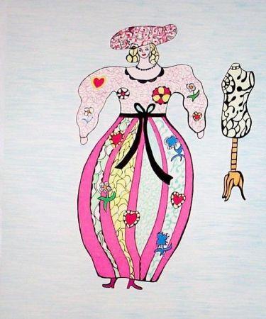 Lithograph De Saint Phalle - Femme et mannequin d'atelier de couture