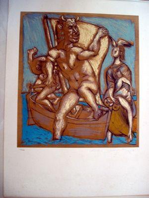 Lithograph Picasso (After) - Femme Et Minotaur