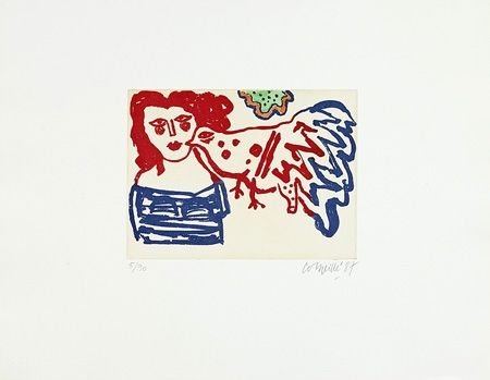 Etching Corneille - Femme et oiseau