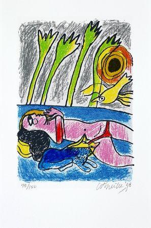 Screenprint Corneille - Femme et oiseau II