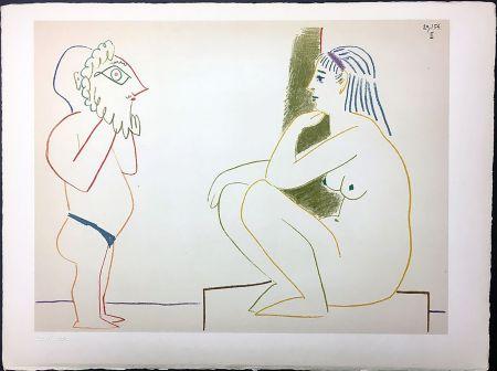 Lithograph Picasso - Femme et Satyre (de La Comédie Humaine - Verve 29-30. 1954).