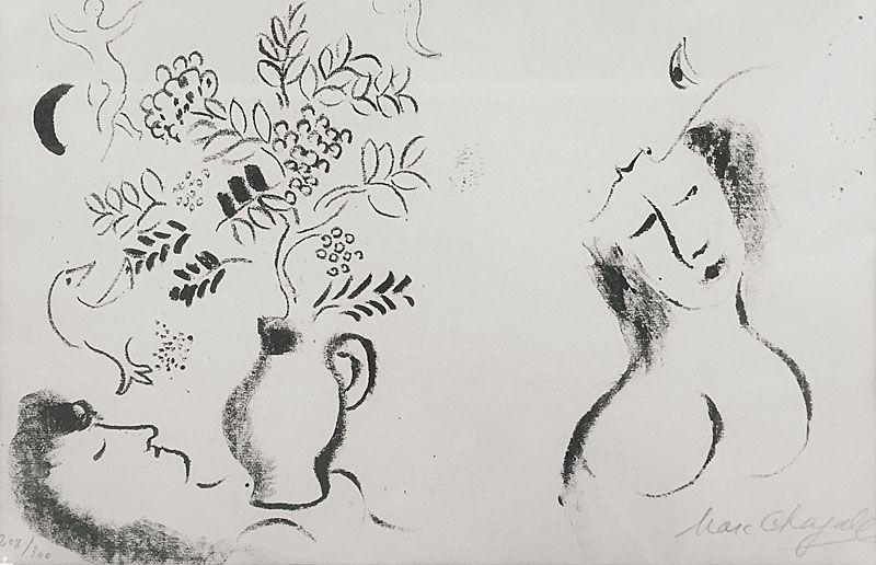 Lithograph Chagall - Femme et Vase fleuri / Lithographie pour un catalogue