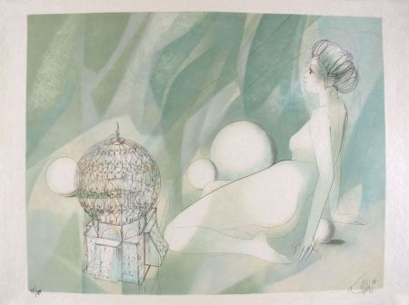 Lithograph Valadie - Femme Nue Assise