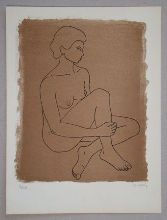 Lithograph Vacossin - Femme nue assise
