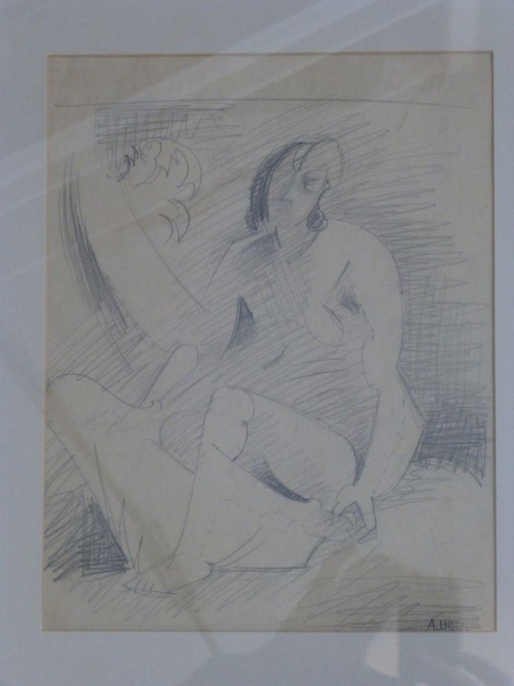No Technical Lhote - Femme nue assise au palmier