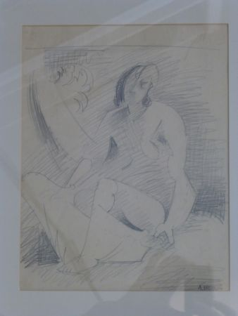 No Technical Lhote - Femme nue assise au palmier