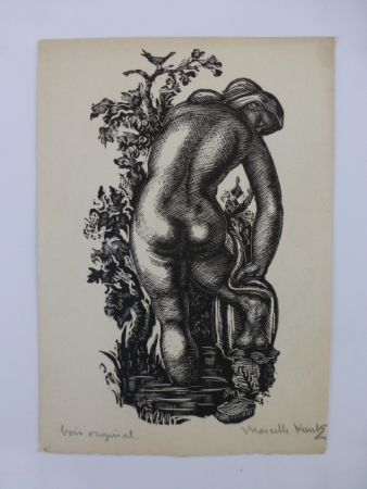 Woodcut Kuntz - Femme nue de dos