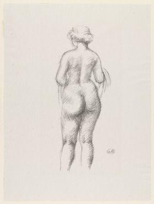 Lithograph Maillol - Femme nue de dos tenant une echarpe