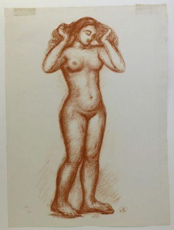 Lithograph Maillol - Femme nue en pied. 1935