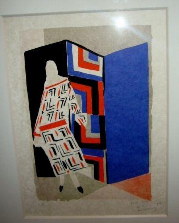 Lithograph Delaunay - Femme paravent