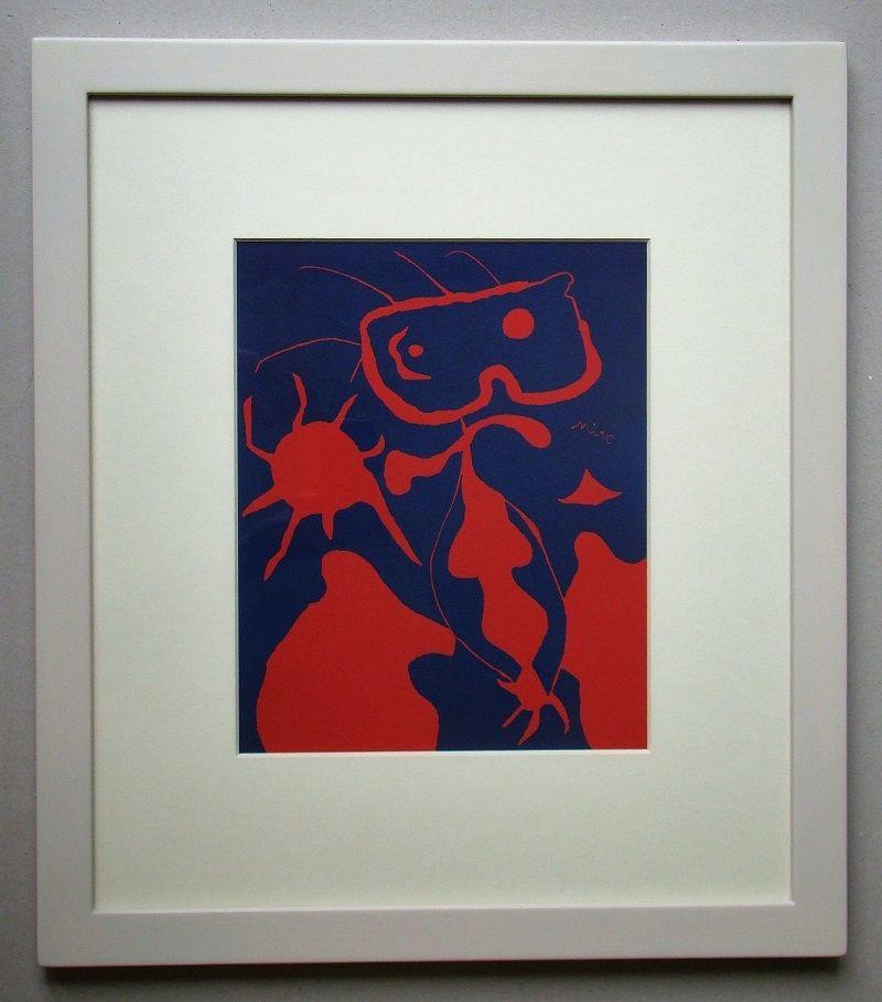 Linocut Miró - Femme pour XXe Siècle