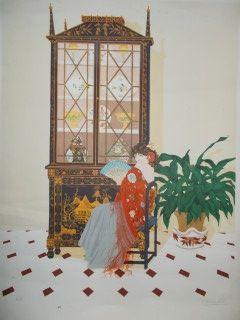 Lithograph Pescalera - Femme regard éventail
