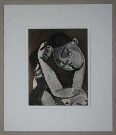 Pochoir Picasso - Femme se coiffant, 1955