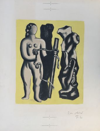 Lithograph Leger - Femme sur fond jaune (Woman on yellow background)