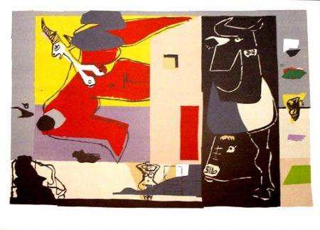 Lithograph Le Corbusier - Femme Unicorne et Taureau Noir