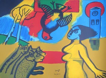 Lithograph Corneille - Femme,oiseau,chats.
