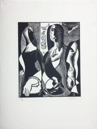 Woodcut Survage - Femmes Cubistes (Paris, 1933)