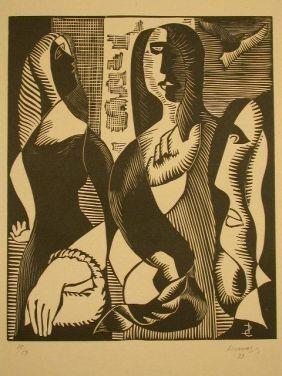 Woodcut Survage - Femmes Cubistique