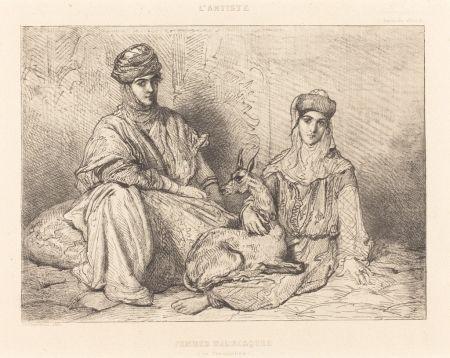 Etching Chassériau - Femmes mauresques (de Constantine)