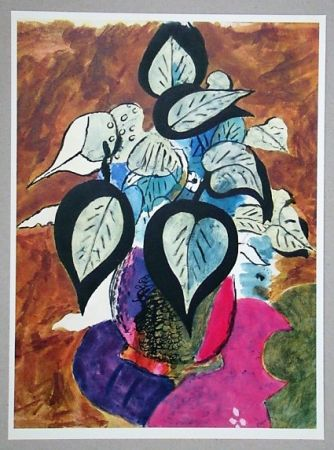 Lithograph Braque (After) - Feuillage en couleurs