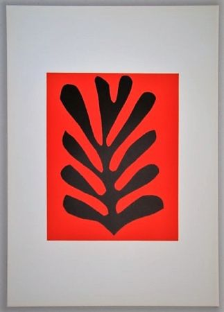Lithograph Matisse - Feuille Sur Fond Rouge