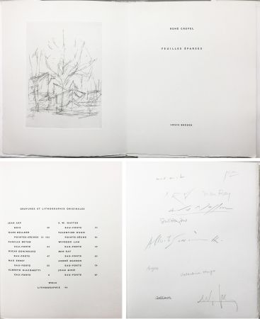 Illustrated Book Giacometti - FEUILLES ÉPARSES (Avec 14 gravures de Arp, Miro, Ernst, Man Ray, Masson, etc.) 1965.
