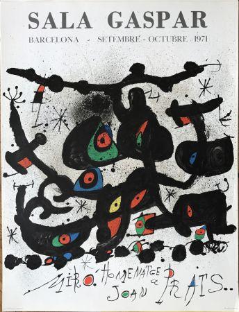 """Lithograph Miró - Ffiche pour l' exposition """"Homenatge a Joan Prats"""". Sala Gaspar, Barcelona."""