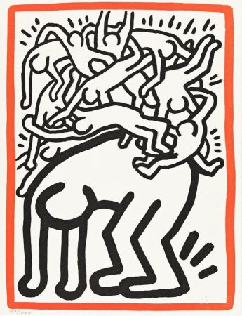 Lithograph Haring - Fight Aids Worldwide