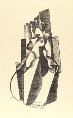 Lithograph Prampolini - Figur in Bewegung
