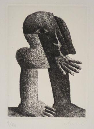 Etching Antes - Figur Kösel II (Kopffüssler).