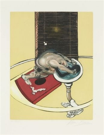 Etching And Aquatint Bacon - Figure at a washbasin (from Requiem pour la fin des temps)