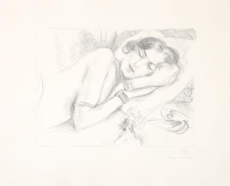 Lithograph Matisse - Figure endormie aux babouches