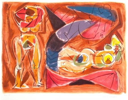 Lithograph Masson - Figure rouge