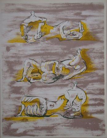 Lithograph Moore - Figures allongrées
