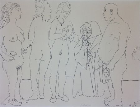 Lithograph Picasso - Figures And Dove